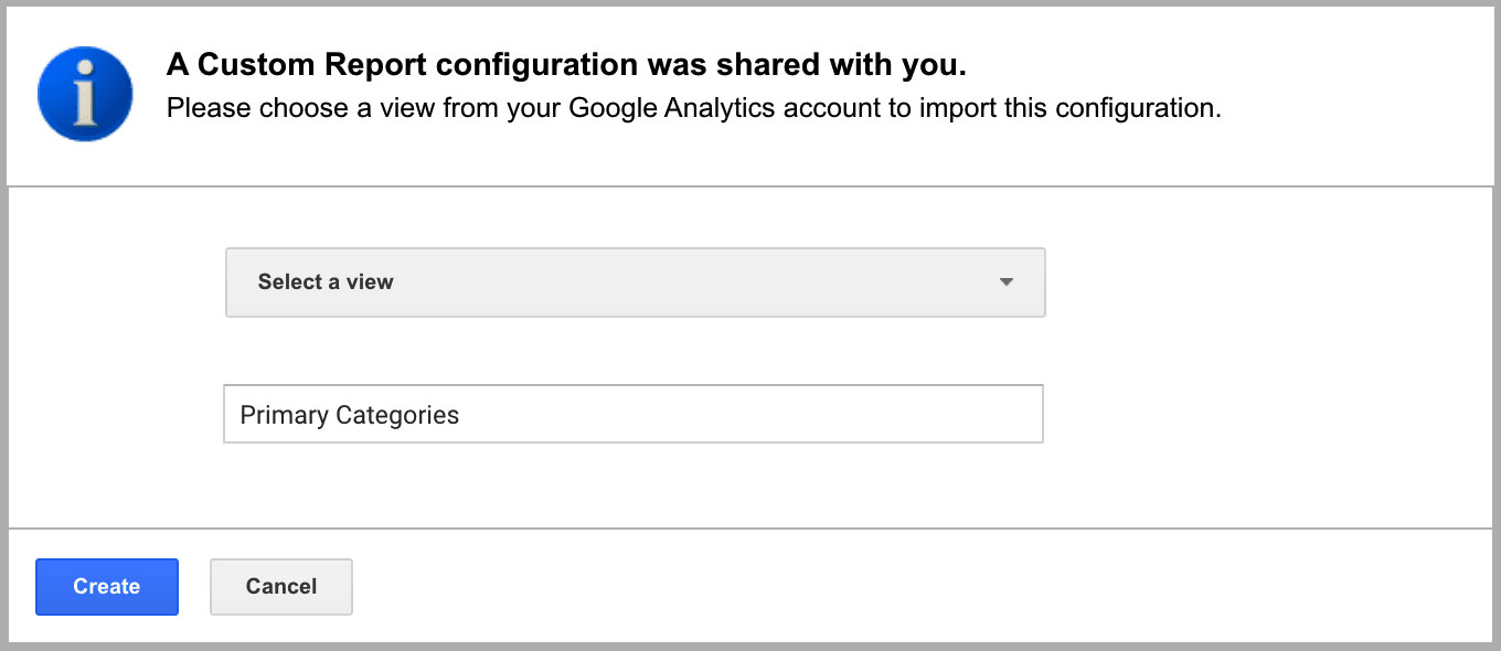 Importing a Custom Report in Google Analytics