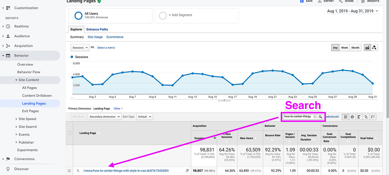 Searching for a page on the Google Analytics Landing Page Report