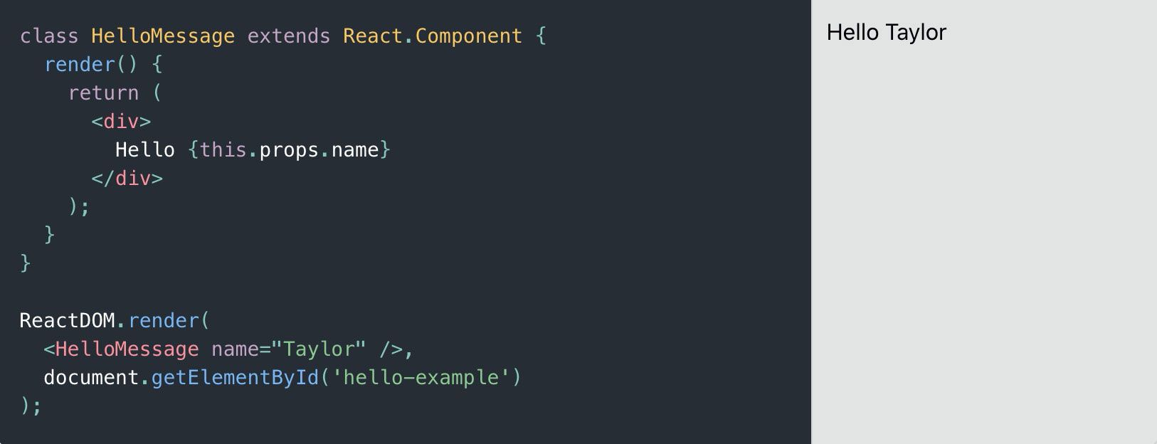"""A Simple Component"" example from https://reactjs.org/"